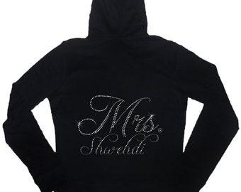 Rhinestone Personalized Bride Mrs. Hoodie - Lightweight (Big Mrs. Design)