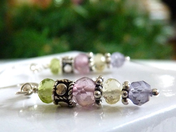 ADORNED Faceted  Gemstone Earrings - Pastel Colors and Sterling Silver - Dangle