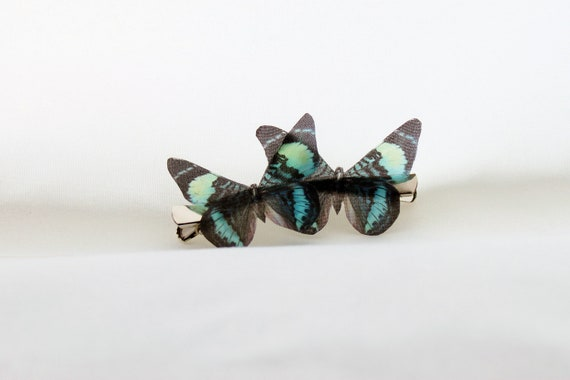 1 Pair Gorgeous Fluttery Blue Green and Black Silk Butterfly Hairclips