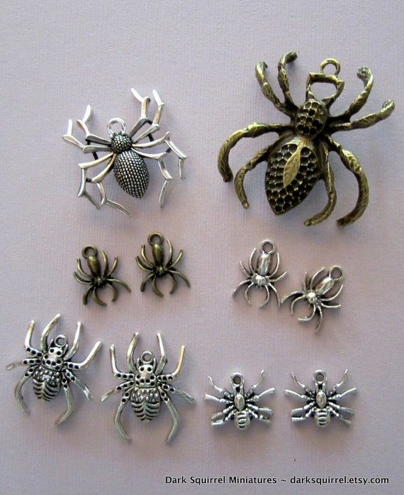 10 pc Spider Charm Assortment for Halloween
