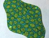 Mama Cloth Reusable Sanitary Menstrual Pad with PUL liner turquoise teal neon lime green - size L to L Plus