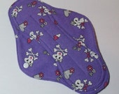 Mama Cloth Reusable Menstrual Sanitary Pad with PUL liner girlie skulls purple - size L to L Plus