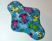 Menstrual Pad Mama Pad Mama Cloth Reusable Sanitary Pad turquoise pink purple yellow reindeer holiday print - size SMALL to MEDIUM
