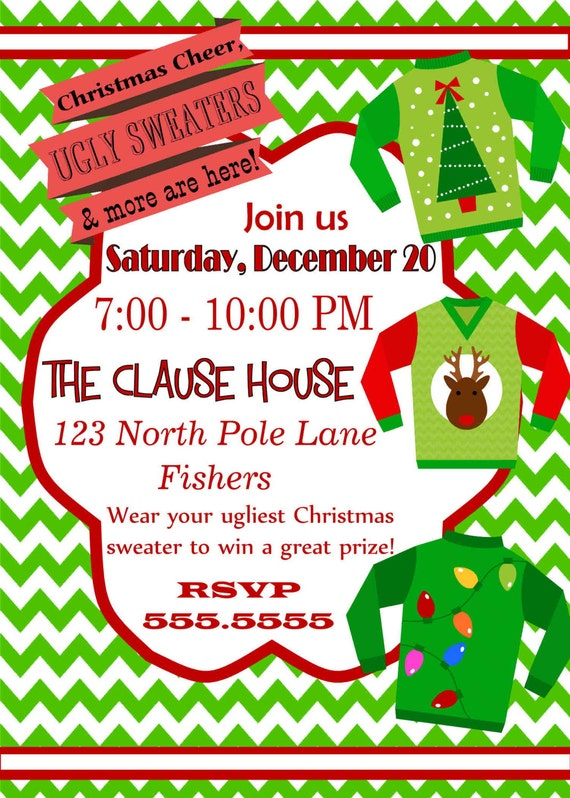 Ugly Christmas Party Invitations with good invitation layout
