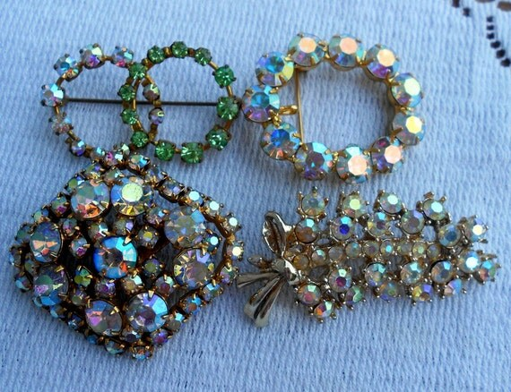 Vintage lot 4 Rhinestone Aurora Borealis Brooches Large and Sparkely
