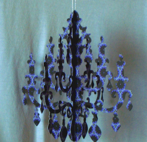 Moody Black and Purple design Paper Chandelier Party Fun VIDEO link inside