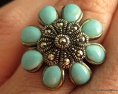 Turquoise Flower Marcasite Ring Sterling Silver Size 7