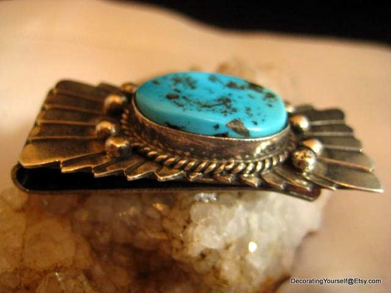 Vintage Native American TURQUOISE MONEY CLIP - Sterling Silver and Stainless Steel - Men's Accessory