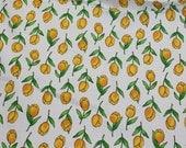 Cranston Cotton Pique Fabric -  Darling Yellow Tulips on White - 1/2 Yard