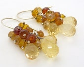 Silver citrine earrings, brown and yellow jewelry, autumn earrings, citrine jewelry, sterling silver jewelry handmade