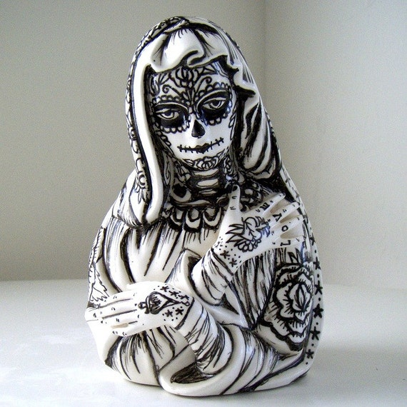 Ceramic Madonna Planter Day of the Dead Mexican Folk Art Tattoos Hand Painted Black White Sugar Skull Virgin Mary vase upcycled