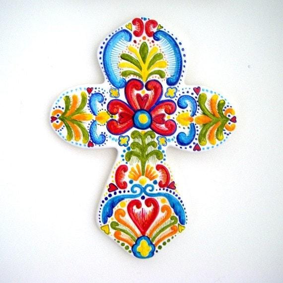 Ceramic Cross Hand Painted Swedish Folk Art Celtic By
