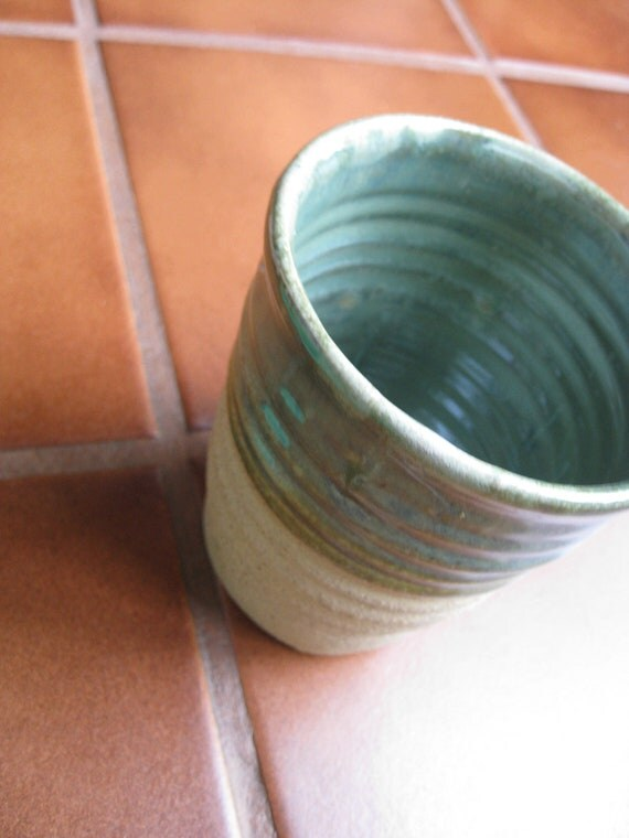 Create Your Own Cozy--Large Teal and Bare Clay Handleless Mug