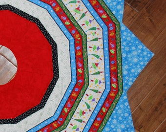 """Large Quilted Christmas Tree Skirt 12 pointed star  55"""" diameter red blue holiday decor Quiltsy Handmade"""