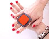Statement Ring Glass - big bold oversize handmade cocktail ring  - SUMMER SPLASH - 2 inch