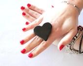 Black Heart Ceramic - Reserved for AMY -  big bold handmade cocktail ring - I HEART U - 1.75