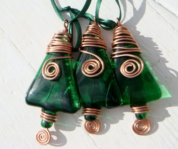 Christmas  glass ornaments hand made with copper wire detail  set of three