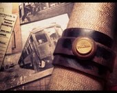 Men's Dark Brown Leather Cuff with Antique Railroad Pullman's Button from early 1900's