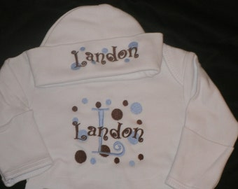 Personalized Baby Gown and Cap set,  Monogrammed Newborn Gown with Mittens and Beanie, Custom Colors You Design,