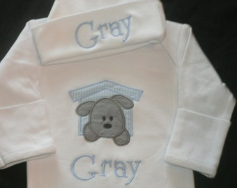 Monogrammed Baby Puppy Gown Hat set  baby Layette Personalized Coming Home Outfit