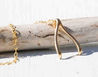 Gold Wishbone Pendant,Wishbone,Lucky Wishbone Necklace,Make a Wish Pendant,Lucky Charm,Ring Holding Necklace,Gold Wishbone,Rustic Wishbone