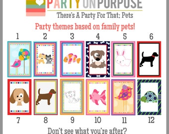 Animals and Pets Birthday Banner and Cupcake Toppers Fully Assembled Decorations
