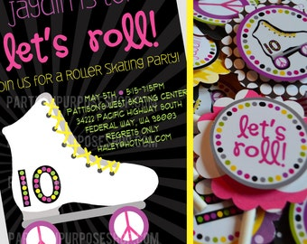 Rollerskating Birthday Party Pink Black Yellow Green Fully Assembled