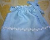 Reserved for Maija, little girl's blue linen butterfly dress