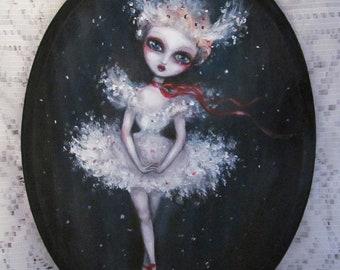 LILY gothic snow flake big eye ballerina giclee PRINT by Nina Friday