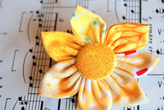 Yellow Fabric Flower Hair Clip with Glitter Button Top - Colors of the Rainbow - Kanzashi Flower