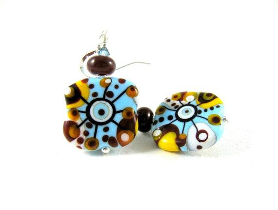 RESERVED  Lampwork Earrings, Turquoise Blue Yellow Earrings, Glass Earrings, Funky Earrings, Abstract Earrings, Beadwork Earrings - Puzzling
