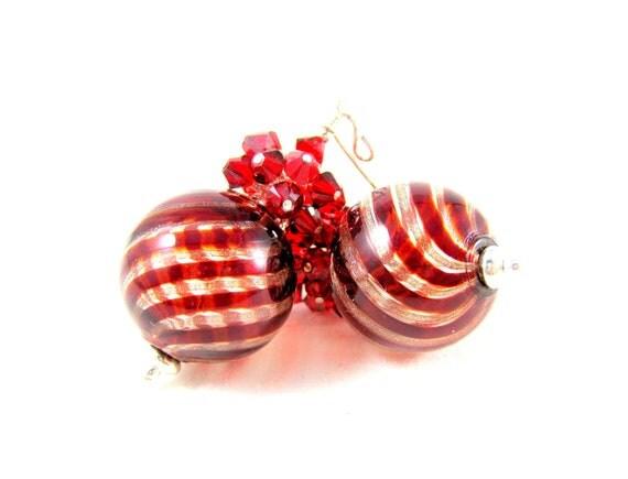 Christmas Earrings, Blown Glass Earrings, Murano Glass Earrings, Red Crystal Earrings Red Gold Venetian Glass Bead Earrings - Red Balloons