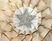 Paper Cone Wreath Vintage French Dictionary Pages w/Genuine German Silver Glass Glitter Star Center