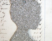 Genuine German Silver Glitter Silhouette Vintage Inspired Ornament