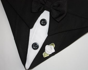 Dog Tuxedo Wedding Bandana Black Suit Dog Bandana Sz L XL