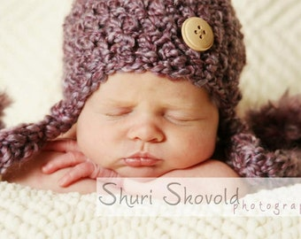 Purple Cute as a Button Hat with Pom-Pom Ties- Great Photography Prop