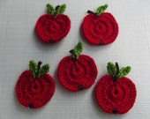 5 CROCHET  APPLIQUE  APPLE