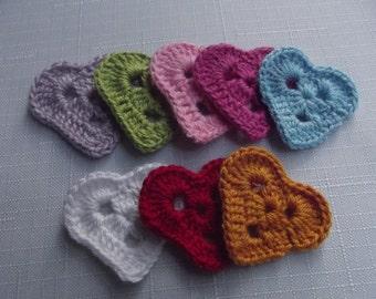 8 Pcs Cotton Crochet Applique Heart...Pattern Applique...Crochet Applique...Embellishment