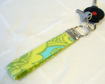 Amy Butler Fabric Wristlet Key Chain Fob Keyring Ring Sandlewood Turquoise Lime Green Paisley Fabric Key Fob MTO