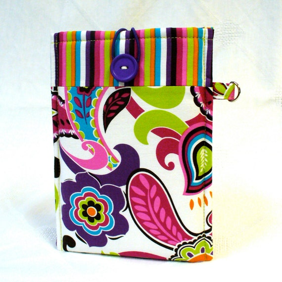 KINDLE Fire Sleeve Ereader Cover Kindle Fire Case Padded Kindle Sleeve Mod Floral Purple Pink Lime  Ready to Ship