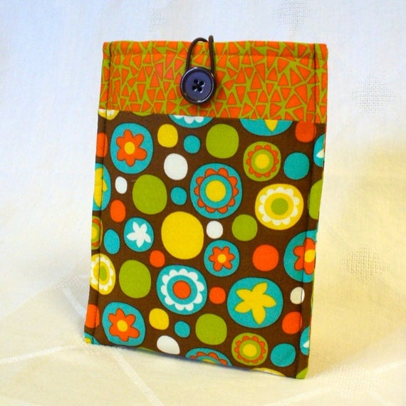 Cute NOOK Color Case Nook Tablet Cover Padded NOOK Sleeve Mod Circles Triangles Orange Yellow Turquoise Lime Brown