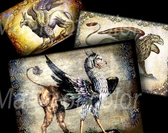 Griffons - 6 Digital ACEO Images - Printable Digital Collage Sheet