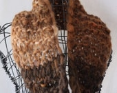 Brown Ombre, Hand Spun, Hand Knit Cowl, Infinity Scarf