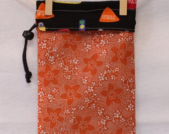 Knitting Project Bag, school bus and signs, orange and black, Small