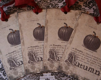 Thanksgiving / Fall Pumpkin tags with rhinestones, set of 4