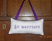 Go Warriors Cross Stitch Hanging Pillow