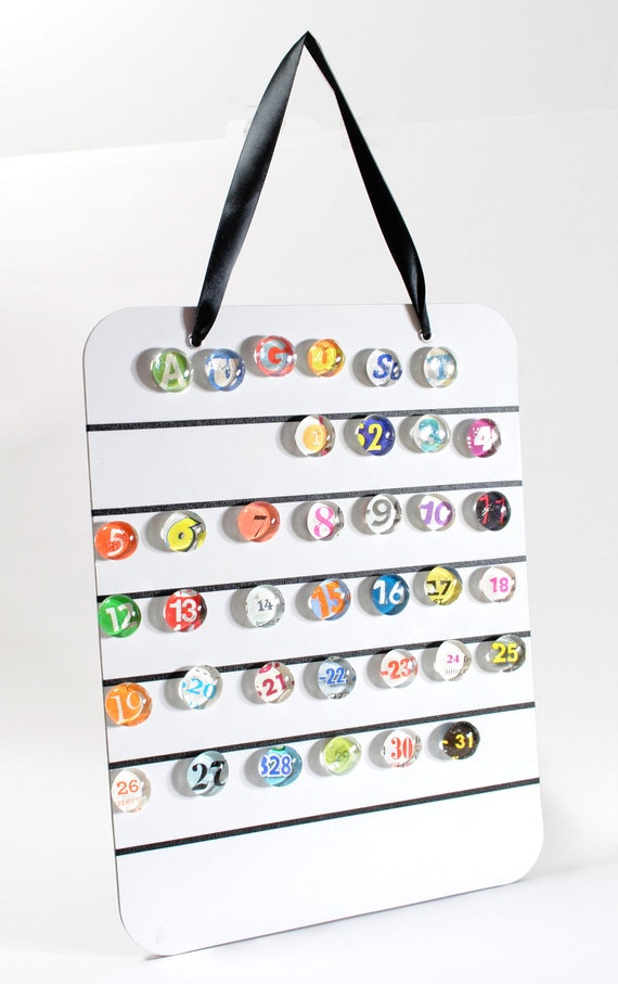 magnetic calendar, colorful dry erase and magnetic- made from recycled magazines, perpetual, 2013