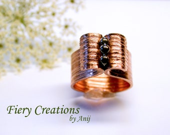 """Cigar Band Ring """"Fountain"""" Hand Fabricated, Engraved Copper Band with Hematite, OOAK"""
