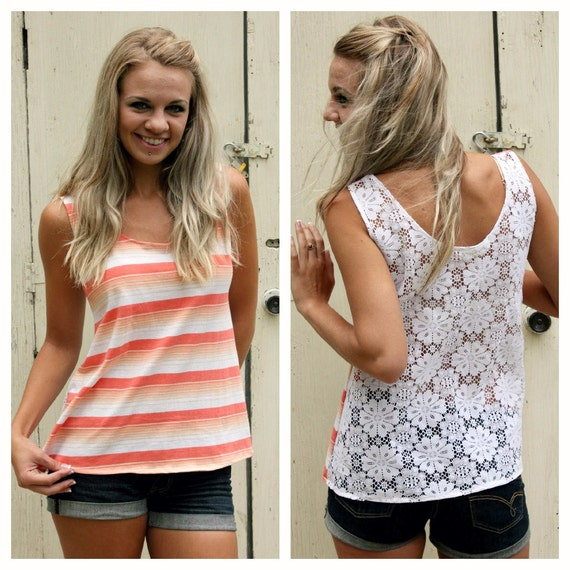 SALE-25% OFF-Peach Striped Tank Top-Floral Print Lace-Spring Fashion Top