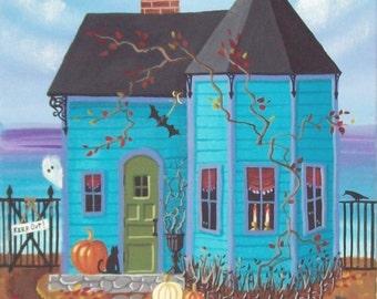 Black Bat Bay Cottage Folk Art Print